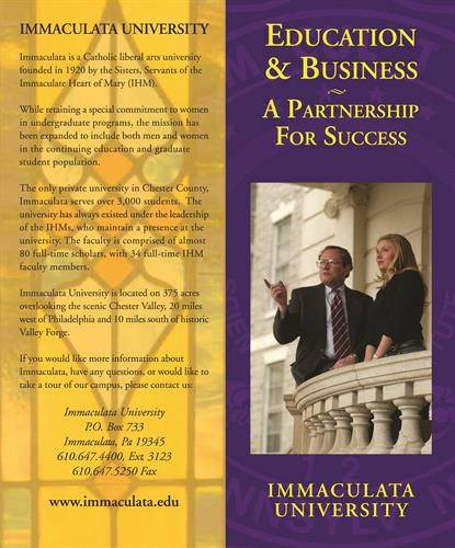 Fundraising brochure for Immaculata University