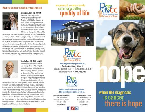 Trifold brochure announcing the launch of a veterinarian's cancer center