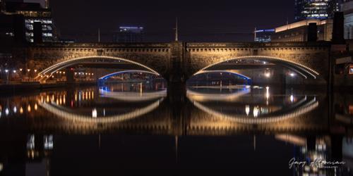 """Mascara Bridge"" - Regional Rail bridge leading to 30th Street Station, Philadelphia.  LED light installation by Carr & Duff."