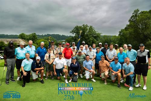 Group photograph of the Celebrity Attendees at the 27th Dick Vermeil Invitational Golf Tournament benefiting the Chester County Council of the Boy Scouts of America.