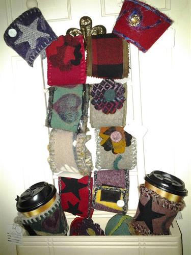 wool and suede coffee cozies