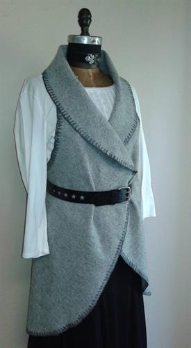 Circle vest/cape made with the herringbone pattern wool throw from the Faribault Woolen Mill Co.