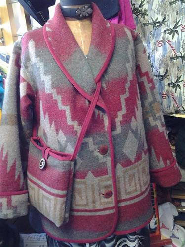 Faribault Woolen Mill southwest blanket coat and matching purse