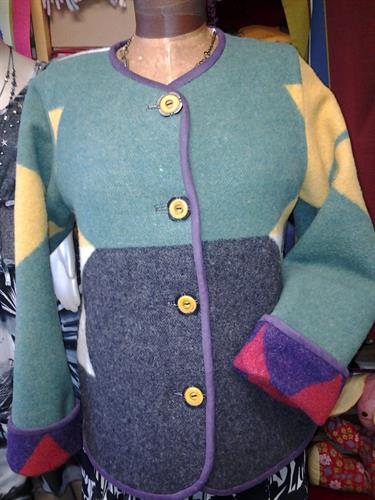 custom made four directions blanket jacket with suede trim