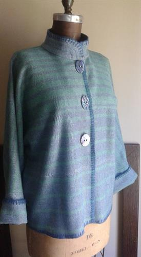 Brand new watery blue and green merino wool blend dolman sleeve jacket. throw from Faribault Mills.