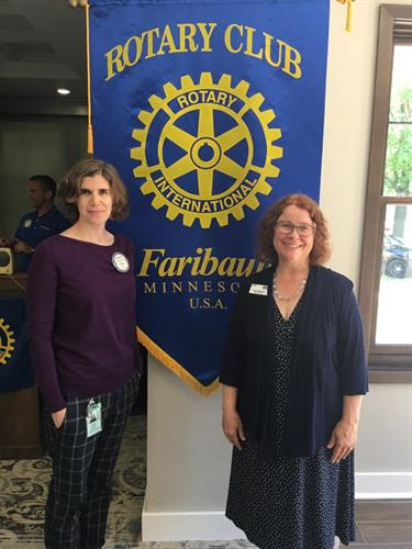 Board member Anne Marie Leland and Executive Director Penny Hillemann at Faribault Rotary