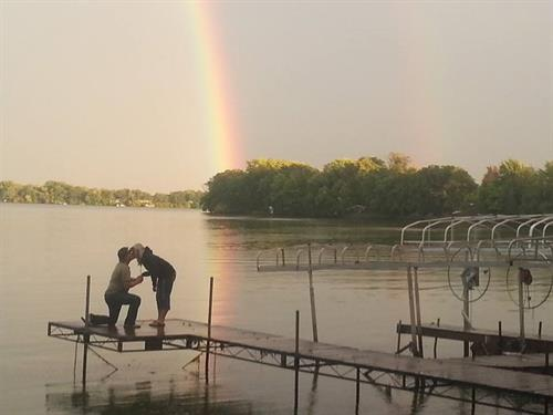 A romantic moment on Winjum's dock