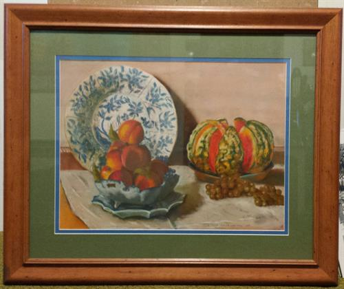 "Replication of Monet's ""Mellon and Still Life"" This original pastel is painted and framed by Barb Bruns."