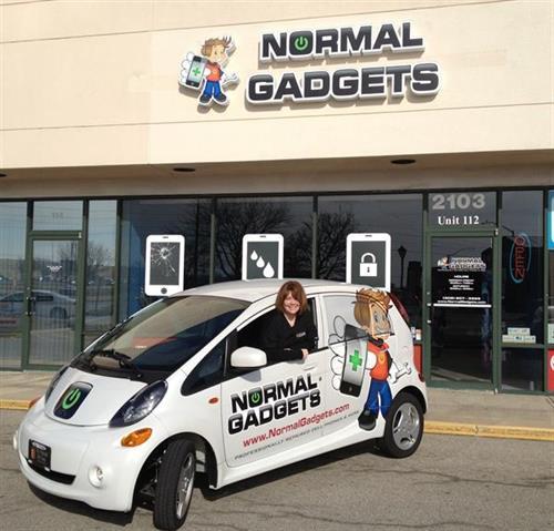 Zippie, our electrix car with Angie!
