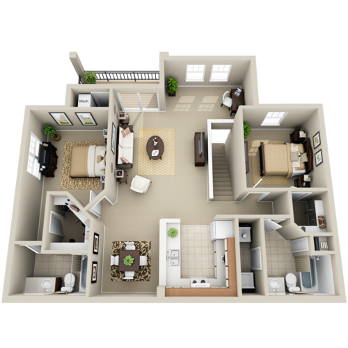 D Style Two Bed/Two Bath Homes- 1,135-1,247 sqft