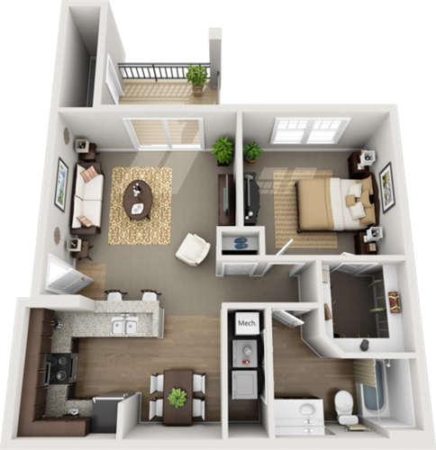 A style One Bedroom-750 sqft