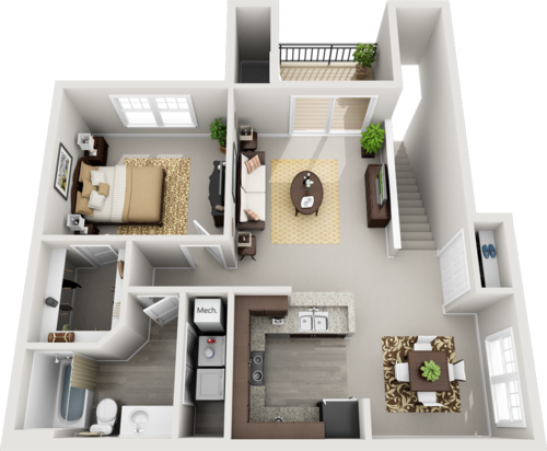 B Style One Bedrooms- 818-880 sf