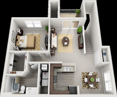 B Style One Bedrooms- 818-880 sqft