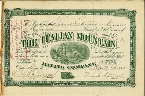 The Blue Wrinkle Mine Stock Certificate