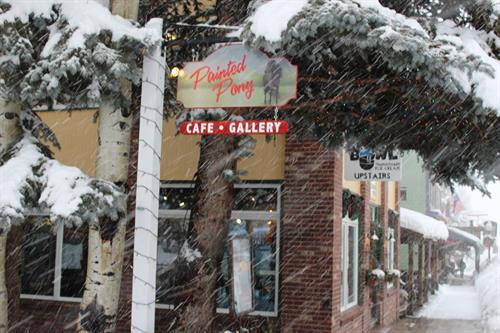 The Painted Pony Cafe & Gallery is open 7 am to 5:30 pm (except Tuesdays) with extended hours on ArtWalk evenings.