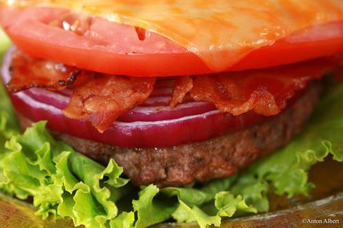 Closeup burger photo editorial