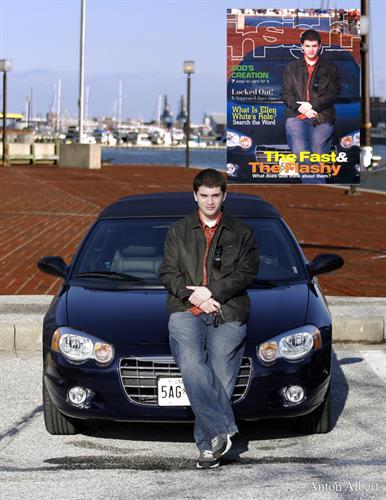Magazine cover photo shoot at baltimore's inner harbor