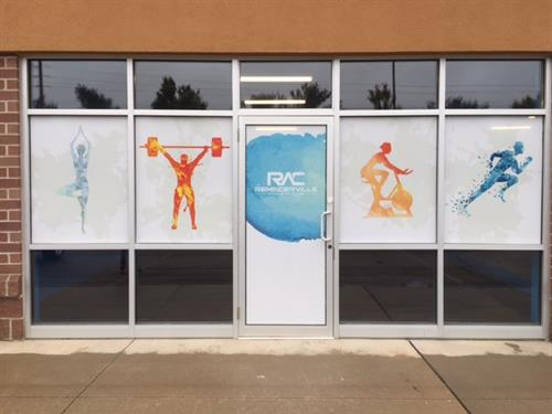 Window Perf on display at the Reminderville Athletic Club.