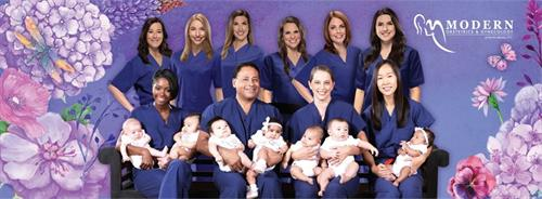 Our Modern ObGyn team of providers and Modern ObGyn Babies!