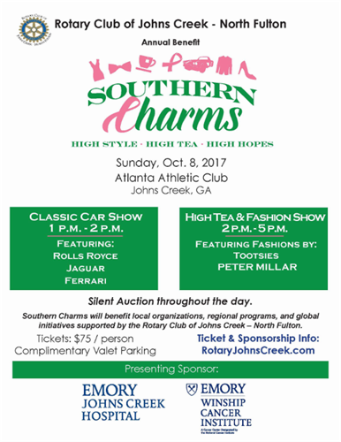 Join us at Souther Charms Fashion & Auto Show  October 8, 2017,