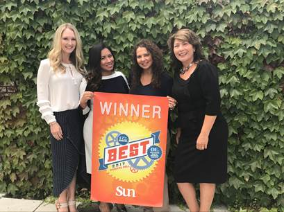 2017 Santa Maria Sun Readers Poll Voted Best Real Estate Company. From Left to Right, Caitlin Testa; Alyssa Limon, Stephanie Pasos, and Michelle Shipman