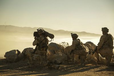- U.S. Army Soldiers, assigned to 11th Armored Cavalry Regiment, provide enemy fire from a mountaintop during Decisive Action Rotation 16-09 at the National Training Center in Fort Irwin, Calif., Aug. 28, 2016. U.S. Army photo by Spc. JD Sacharok