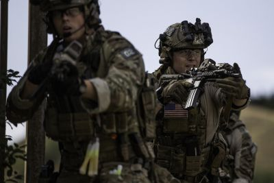Two U.S. Army Soldiers assigned to Special Operations Command-Europe, engage opposing forces at an objective during Jackal Stone 2016 in Tblisi, Georgia, Aug. 15, 2016. Jackal Stone 2016 is a bilateral Georgian, U.S. counter terrorism and crisis management exercise. U.S. Army photo by Staff Sgt. Marcus Fichtl