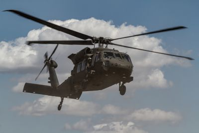 A U.S. Army UH-60 Black Hawk helicopter crew from the 16th Combat Aviation Brigade, 7th Infantry Division, conducts a training flight at Yakima Training Center, Wash., Aug. 11, 2016. U.S. Army photo by Capt. Brian Harris