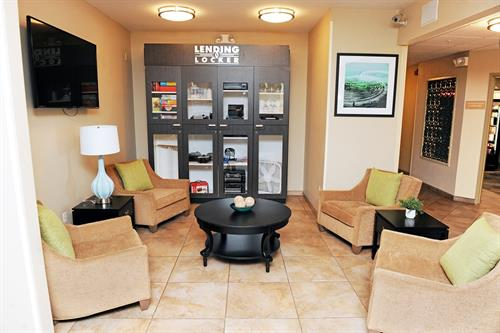 Hotel front desk and free DVD Lending Library. Each suite provides a DVD Player!