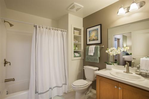 Spacious bathrooms with low flow toilets saving you money on water bills!