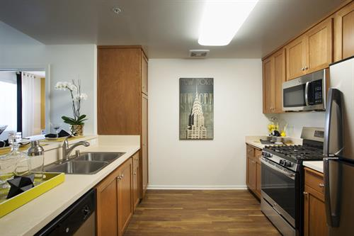 Fully equipped kitchens, polished off with stainless steel appliances.