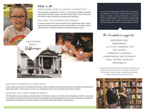 Page 2 of Information brochure for Library Foundation