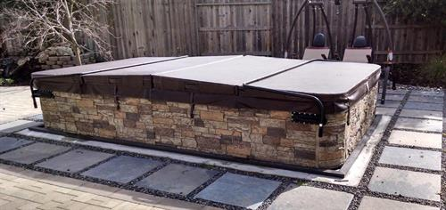 14' TidalFit Semi Inground Swim Spa with Rock Skirting