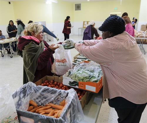 Fresh produce, fruit, eggs & cheese were offered along with canned goods