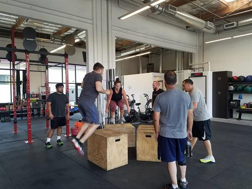 Group of members jumping and stepping onto boxes in a workout