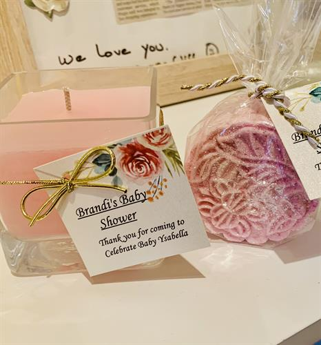We make customized event favors, too! Here Bathbomb and candle for a baby shower