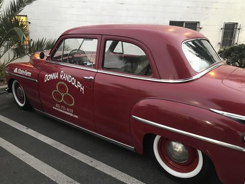 Donna Randolph State Farm has a new car for events,1949 Plymouth!