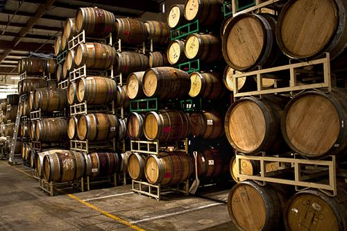 Wines aging in barrel