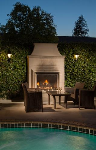 Outdoor Fireplace at Hadsten House Inn in Solvang