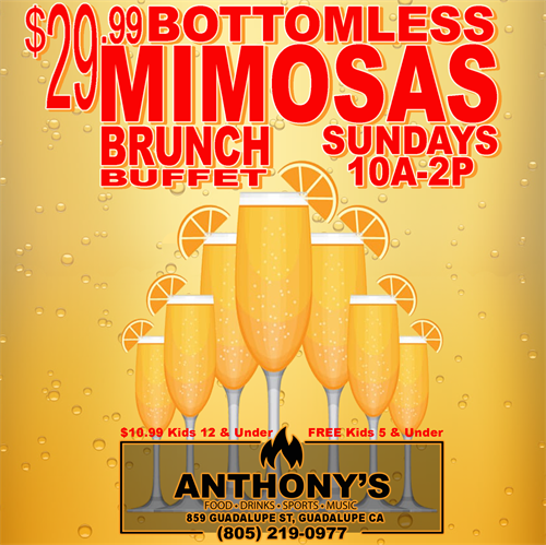 Every Sunday 10a-2p Bottomless Mimosas Brunch Buffet