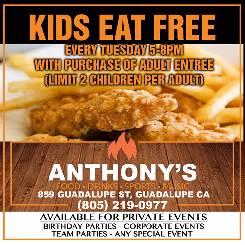 Every Tuesday Kids Eat Free 5p-8p