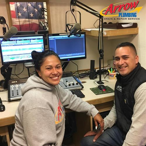 Jessica and Kaniela recording Arrow Plumbing's Radio Ad for MEGA 97.1FM!