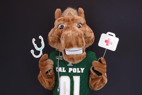 Dignity Health French Hospital Oppenheimer Family Center for Emergency Health Grand Opening - Cal Poly Mascot