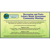 Recreation and Parks Leisure Needs Assessment Community Meeting