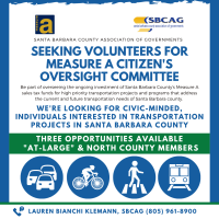 Santa Barbara County Association of Governments seeks civic-minded, interested individuals to serve on the Measure A Citizens Oversight Committee