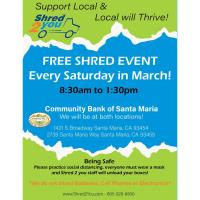 Shred2You: Support Local & Local will Thrive! FREE Shredding Event!