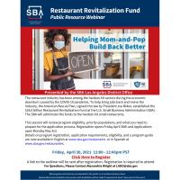 Restaurant Revitalization Fund: Public Resource Webinar
