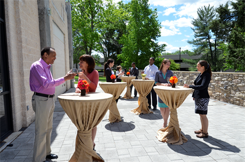 Outdoor patio and terrace for receptions and networking.