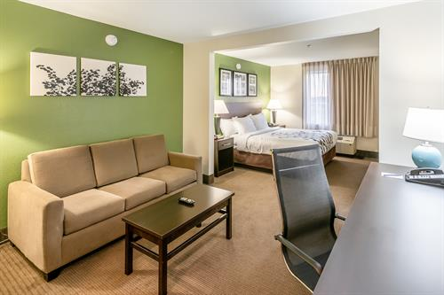 Longer stay and need some extra room, try our King Suite