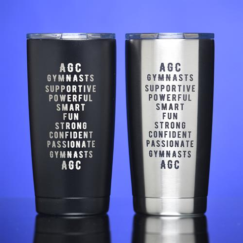 Stainless steel tumbler created for fundraiser.